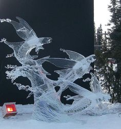 This really caught my eye, Flying fish ice sculptors! :D