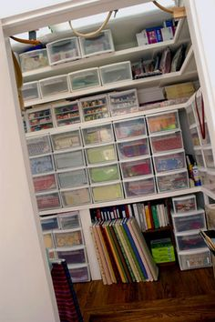If you're converting a closet space to a place for your craft supplies, begin by measuring your usable space. Select a uniform bin system that lets you maximize the width and height of your space-allowing you to store more!