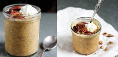 Pripravte si dyňovú kašu s chia semienkami. Peanut Butter, Oatmeal, Pudding, Breakfast, Desserts, Smoothie, Food, The Oatmeal, Morning Coffee
