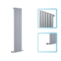 1600mm x 354mm - Silver Upright Single Panel Designer Radiator - Flat Panels - Image 2