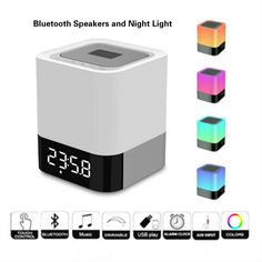 visnfa Portable Bluetooth Speakers Wireless Bluetooth 4.0 Speaker LED Night Light Table Lamp Alarm Clock Touch Control Color LED Bedside Table Lamp. TF Card ,MP3 Player,USB AUX Supported. (Multicolor) >>> Learn more by visiting the image link-affiliate link. #NurseryNightLights