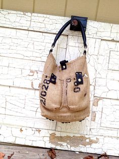 Recycled Burlap handbag with recycled Bicycle by crookedoakdesign, $65.00