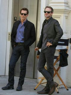 Kevin Bacon and Shawn Ashmore on set of The Following. In love with these two.