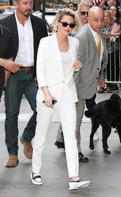 White Suit + Loafers + T-shirt
