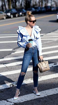 Shirt: H&M (size 4)  | Denim: Topshop | Flats: Aquazzura | Bag: Celine Nano (color is dune) #StreetStyle