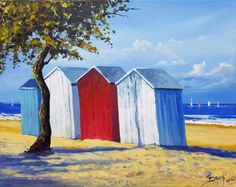 Painting by Eric Bruni (France) Beach Huts Art, Art Gallery, Beach Quilt, Galerie D'art En Ligne, Mini Canvas, Land Scape, Painting Inspiration, Home Art, Tapestry