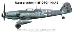 Bf109G-14/AS flown by Heinz Schüler of 16./JG5 at Forus, Norway, in March 1945. Typical of IV/JG5 aircraft is the red/white/red morane mast below the wing.