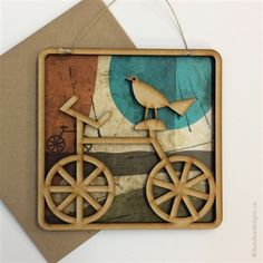 Bird on a Bike- Greeting Card/Wall Art by Shirley Lloyd-Davies, Dundee Designs Inc. Dundee, Customizable Gifts, Poly Bags, Kraft Envelopes, Note Cards, Greeting Cards, Bike, Wall Art, Design