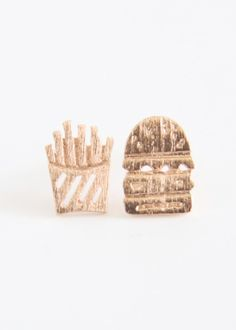 Burger and Fries Earrings Burger And Fries, Stud Earrings, Jewelry, Products, Jewlery, Bijoux, Burger And Chips, Ear Gauge Plugs, Jewerly