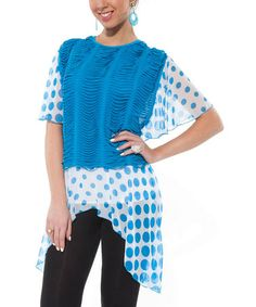 Love this Blue & White Polka Dot Sidetail Tunic on #zulily! #zulilyfinds $18.99 now. Think Summer!
