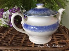 Antique Staffordshire Blue Sponge - Spatterware - TEAPOT - As Is- Replaced Lid #StaffordshireEngland