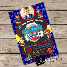 Blue Paw Patrol with Photo Inspired - New Paw Patrol Inspired Party - Paw Patrol Birthday Invitation