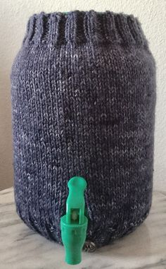 Knitted Denim Blue  One Gallon Kombucha Tea Jar Sweater Cozy by Bizyhands on Etsy https://www.etsy.com/listing/514505805/knitted-denim-blue-one-gallon-kombucha
