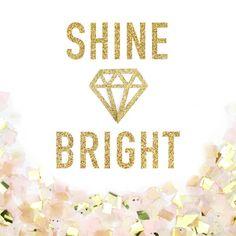 Shine Bright Gold Glitter Banner - Shine Bright Like a Diamond Gold Sparkle Banner - Party Decoration // Wedding Decor // Home Decor
