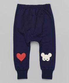 Navy Heart Harem Pants - Infant, Toddler  Girls