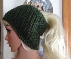 Crochet Green Messy Bun Hat-Teen by RocknHotdog on Etsy
