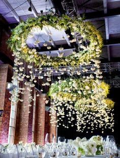 floral rain, floral wedding decor, events with trees, green flowers wedding, flower trees with lights, hanging flowers, cecilia fox flowers, ferns wedding decor, flowers green