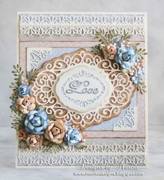 Designs by Marisa: Wedding Card - Craft Dies by Sue Wilson Scandinavian Corner Border Tag, Copenhagen, Camellia Complete Petals, Delicate Fronds
