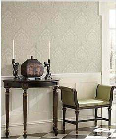 White and taupe damask wallpaper paired with wainscoting.  Would this work in the dining room?