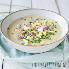 Heerlijke klassieke aspergesoep met ham, ei en bieslook | cuisinevansabine