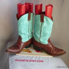 Fancy TWO TONE Western Boots / Ladies size 9 .5 M  Eu 41 UK 7 / Leather Aqua Turquoise Brown /Flame Stitched Cowboy Boot by GoodEye on Etsy