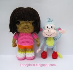 Dora the Explorer and Boots Amigurumi crochet pattern by amigurumi photos, via Flickr