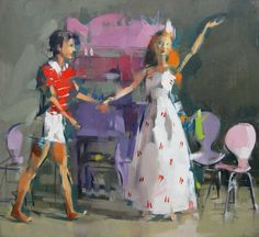 B and K Dancing in the Kitchen by Maggie Siner