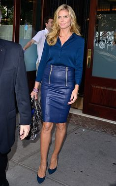 Kim Kardashian - Jean Button-Up & Blue Leather Skirt | Kim ...