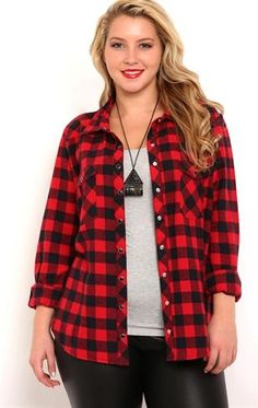 Deb Shops Plus Size Long Sleeve Buffalo Plaid Flannel Shirt with Snap Closures $28.00