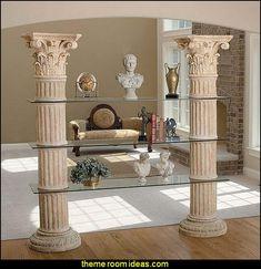 Captivating Classic Ancient Roman Corinth Columns Shelf Etagere With Acanthus Leaf  Capitols