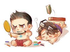 Baby Avengers: Tony and Bruce (by kadeart)
