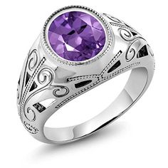 460 Ct Oval Natural Purple Amethyst 925 Sterling Silver Mens Ring Available in size 7 8 9 10 11 12 13 * Check out this great product.