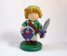 Legend of Zelda Link Figurine  Polymer Clay  Video by Outpost8, $26.00