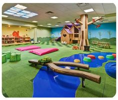 From an indoor playground in Singapore to a forest-themed oasis in Los Angeles to a baby lounge in Paris, the play spaces on our list will rock baby& world. Kids Gym Equipment, Daycare Design, Playroom Design, Playroom Layout, Preschool Rooms, Preschool Ideas, Preschool Classroom, Preschool Room Layout, Preschool Furniture
