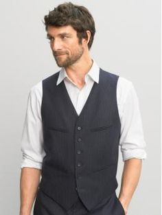 Love this look.  heritage navy vest banana republic front