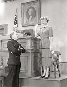 Lucy testifying about the broken TV set after being sued by the Mertz's