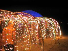 awesome light display decoration idea that you can do in Burning Man. Who doesn't love the lights?