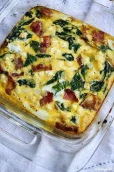 Quiche Recipes, Egg Recipes, Brunch Recipes, Casserole Recipes, Cooking Recipes, Healthy Recipes, Egg Bake Casserole, Bacon Egg Bake, Egg Bake Recipe