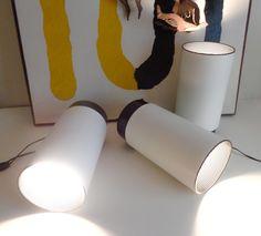 3 MODERNIST UPRIGHT WHITE METAL 'TUBE LIGHTS' W/BLACK BASES, Mid-Century Modern (SOLD)