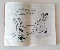 sketchbook, jonny hannah, rabbit, hear, lettering, ink, drawing, print, illustration