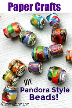 Paper Crafts: Create beautiful DIY pandora style jewelry beads with paper! Use colored card stock, old magazines, or even junk mail to fashion colorful beads. A perfect project for a rainy day. Rainy Day Crafts, Crafts For Kids, Recycled Magazines, Pandora Beads, Mixed Media Jewelry, Beaded Jewelry Patterns, How To Make Diy, Homemade Crafts, Paper Beads