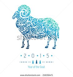 Ornamental decorative symbol of the new year / sheep / goat / 2015 - stock vector
