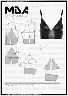 21 Wonderful Photo of Crop Top Sewing Pattern - figswoodfiredbist. - 21 Wonderful Photo of Crop Top Sewing Pattern Crop Top Sewing Pattern Num 0058 Top Learn Sewing - Dress Sewing Patterns, Sewing Patterns Free, Clothing Patterns, Pattern Sewing, Pattern Drafting, Bodice Pattern, Bra Pattern, Fashion Sewing, Diy Fashion