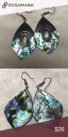 "Abalone shell fashion earrings Lovely abalone shell fashion earrings. Measures 2"" long and 1.25"" wide. Pre-worn but good condition. Vintage Jewelry Earrings"