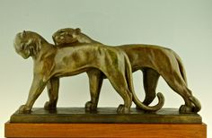 Art deco bronze sculpture of two panthers, André Vincent Becquerel.