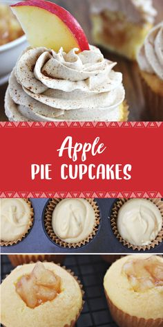 apple pie cupcakes have all the flavors of apple pie in a moist cupcake and topped with whipped vanilla, cinnamon frosting!My apple pie cupcakes have all the flavors of apple pie in a moist cupcake and topped with whipped vanilla, cinnamon frosting! Apple Desserts, Apple Recipes, Fun Desserts, Baking Recipes, Cookie Recipes, Delicious Desserts, Yummy Food, Christmas Desserts, Baking Desserts