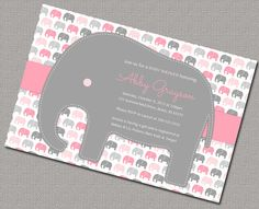 elephant baby shower invitations for girls - gray pink girls baby shower invite baby elephant - print yourself or printed - by Willow Lane Prints on Etsy Elephant Baby Showers, Pink Elephant, Elephant Parade, Elephant Theme, Elephant Print, Cute Baby Shower Ideas, Baby Shower Invites For Girl, Girl Shower, Baby Ideas