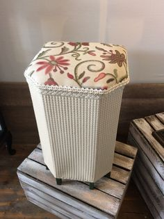 Gorgeously refurbished - Lloyd loom linen basket, ottoman, dressing table stool. by aHOMEisMADEof on Etsy https://www.etsy.com/listing/208967928/gorgeously-refurbished-lloyd-loom-linen
