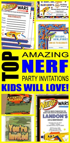 Nerf party invitations great for boys and girls too - teens and tweens. Find cool and fun Nerf party invite ideas for your kids birthday or just because.   Awesome & cool designs! You can also do a DIY, Printable or template invites that are sometimes free. These are fun and a perfect fit for a Nerf gun dart party.