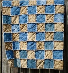 Rag Quilt - Upcycled Denim and Corduroy Quilted Blanket/Throw -  | blackberrythyme - Quilts on ArtFire    Upcycled is always Good!!  Cotton, too!!    Found at Handmade Saturday on Facebook - run by @Artfire LInk !!